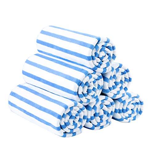 "JML Microfiber Beach Towels, Quick Dry Towel Set (6Pack, 27"" x 55"") - Cabana Stripe - Multi Purpose Microfiber Towels for Pool, Bath, Sport, Yoga, Camping, Swimming, Blue"