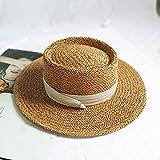 WDSZLH Sombrero de Paja Natural Hecho a Mano, Sombrero de Playa de Verano para Mujer, Gorra de Moda, Visera de protección Plana cóncava, Sombreros de Barco para el Sol