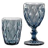 bicchieri acqua colorati in vetro, calici vino colorati in vetro, lavabili in lavastoviglie, tumbler acqua colorati e calici vino colorati in vetro grand pave' colore blu zaffiro