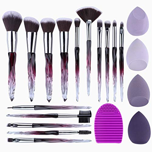 XMOSNZ Makeup Brushes 15pcs Premium Synthetic Bristles Crystal Handle Set Eyeshadow Brush Face Lip Eye Make Up Brush Sets Professional with 4 Makeup Sponges and Brush Egg