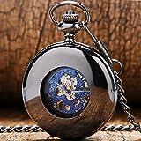 FQD&BNM Pocket Watch Smooth Black Mechanical Pocket Watch Self Winding Blue Roman Numerals Display Dial Vintage Pendant Pocket Clock Male