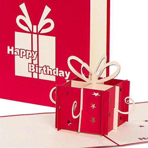 3D Geburtstagskarte - Rotes Geschenkpaket - Pop up Karte, Glückwunschkarte Geburtstag, Grußkarte, Geschenkkarte als Gutschein oder für Geldgeschenk, Happy Birthday Card, Geburtstagskarten