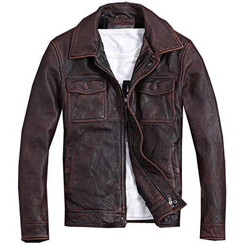 EIJFKNC Lederjacke Vintage echte PU-Lederjacke Männer Plus GrößeLedermantel schlanke Kurze Jacke, rotbraun, XXL