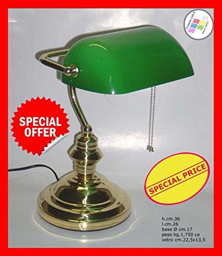 Churchill tafellamp met groene glazen kap en ketting