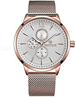 NAVIFORCE 3003 Mens Sports Metal Wrist Strap Analog Quartz Watch - Rose Gold + White