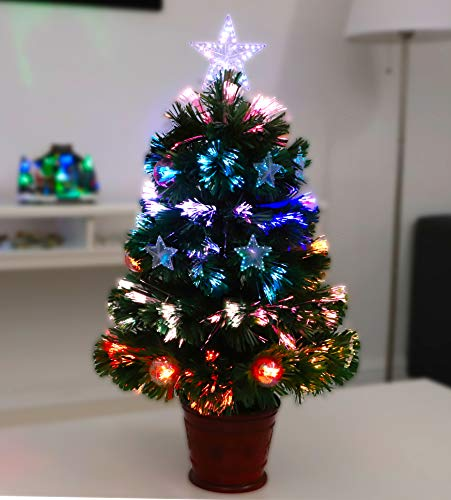 Christmas Concepts 2FT (60CM) GREEN FIBRE OPTIC CHRISTMAS TREE WITH STARS AND BAUBLES AND RED BASE