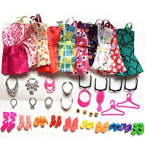 40 accesorios de ropa para muñecas, incluyendo vestidos casuales, zapatos, collares, coronas, gafas, pulsera, gorro, peine para niñas, regalos de cumpleaños