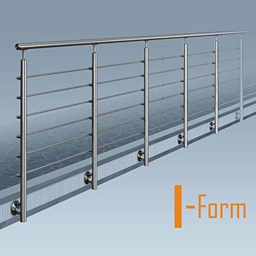 Edelstahl Reling-Geländer. I-Form (ohne Ecke). Bausatz DIY. seitliche Montage 14 m