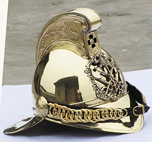 Classical.Gift.Export Victorian MERRYWEATHER Brass Fireman FIRE Fighter Brigade British Chief Helmet