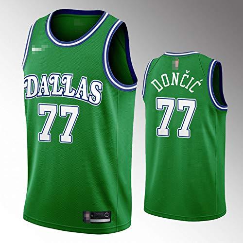 YDYL-LI Camiseta de baloncesto para uniforme de Dallas Mavericks # 77 Luka Dončić Camiseta de entrenamiento para hombre y adolescentes, transpirable y cómodo, S