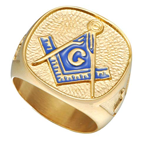 Jude Jewelers 18K Chapado en Oro Acero Inoxidable Anillo Masónico