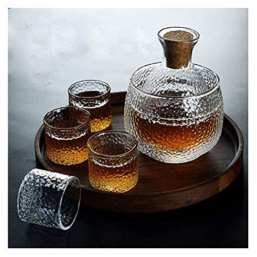 Juego de Jarras y Vasos de Whisky Conjunto de vinos de vidrio de vidrio martillado japonés, conjunto de sake de siete piezas, con matraz cálido, adecuado para suministros para el hogar, oficina y nego
