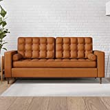 Edenbrook Lynnwood Upholstered Sofa with Square Arms and Tufting-Bolster Throw Pillows Included, Camel Faux Leather