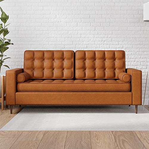Edenbrook Lynnwood Upholstered Sofa with Square Arms and Tufting-Bolster Throw Pillows Included, Faux Camel