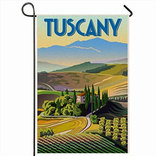 PQU Awesome Outdoor Yard Flag,Grüner Italienischer Sommertag Toskana Zypresse Italien Parks Vintage Landschaft Reise Wein Toskanische Landschaft Lustige Outdoor-Saisonflaggen,32x45.7cm