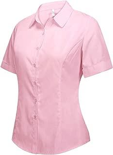 Double Plus Open Women's Cotton Basic Button Down Shirt Short Sleeve Pleated Blouse