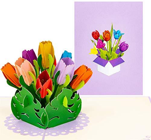 LIMAH® Pop Up 3D Geburtstagskarte, Glückwunschkarte mit 9 Tulpen, Dankeskarte, Abschiedskarte, Geburtstagskarte, Muttertagskarte, Valentienstagkarte (Bunt)