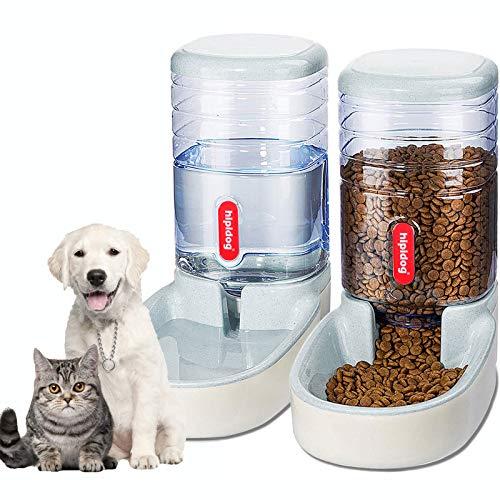 XingCheng-Sport Automatischer Futterautomat Kleine & Mittlere Haustiere Automatischer Futter- und Tränkesatz 3.8L, Reisefutterautomat und Wasserspender für Hunde Katzen Haustiere Tiere (Gray)