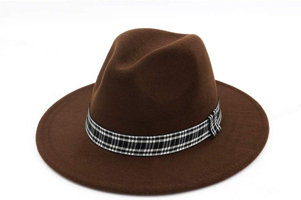 ZLQQLZ Women Cap Women Men Wool Fedora Hat with Striped Satin Wide Brim Wool Church Fascinator Hat Panama Hat (Color : Drak Coffee, Size : 56-58)