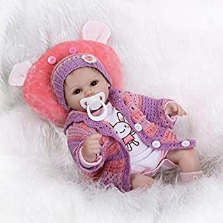 Nicery Reborn Baby Doll Soft Simulation Silicone Vinyl 18inch 45cm Magnetic Mouth Lifelike Boy Girl Toy Red Pillow Eyes Open