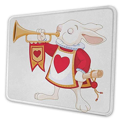 Alice im Wunderland druckte Mauspad Kaninchen spielen königliche Trompete mit Herz Design Tierkarte Kinder rutschfeste Gummibasis Mousepad weiß rot gelb