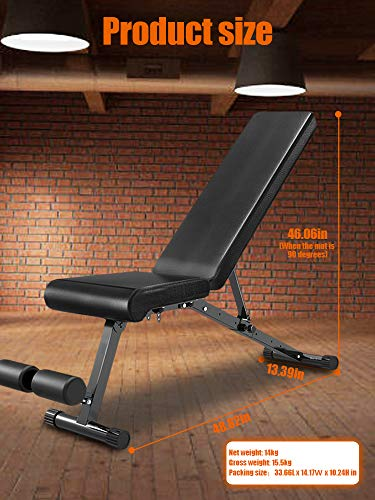 EXF Adjustable Weight Bench Leg Extension,Strength Training Bench for Workout,Flat/Decline Bench for Home Gym Strength Training