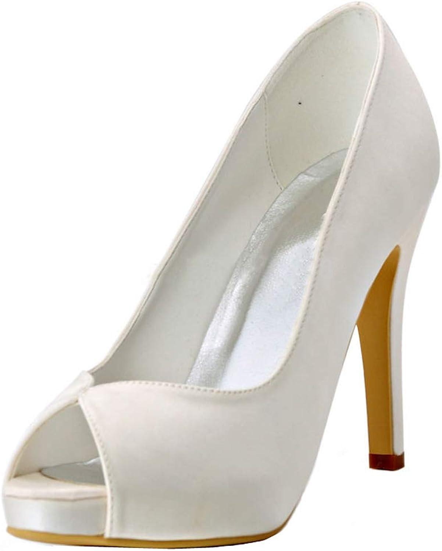 Charmstep Charmstep Charmstep Frauen Elfenbein Satin Kleid Pumps Peep Toe Plattform High Heel Hochzeit Braut Schuhe MZ8236  e5015a