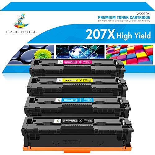 True Image Kompatibel Tonerpatrone Replacement für HP 207A 207X W2210A W2210X für HP Color LaserJet Pro MFP M283fdw Toner M283 M282nw HP Color LaserJet Pro M255dw M255 W2211X W2212X W2213X Kein Chip