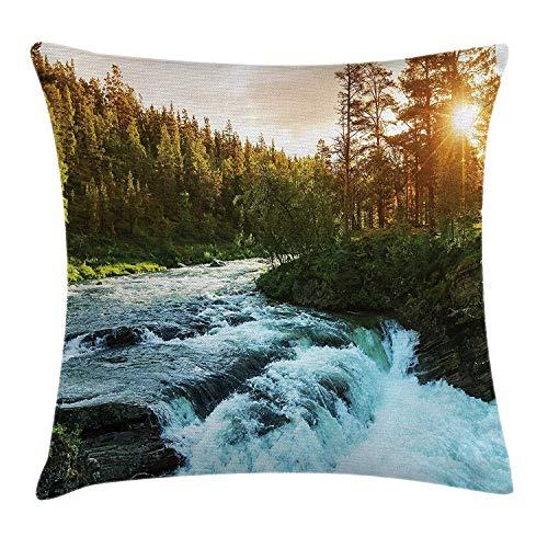 Butlerame Funda de Almohada Europea, río en Noruega, Amanecer, Rayos de Sol a través de pinos, Primavera escénica, 18 x 18 Pulgadas, Azul bebé