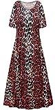 Plus Size Maxi Dress Short Sleeve A-Line Red Leopard Slinky Print 6X