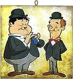 KUSTOM ART Cuadro de estilo vintage serie cómics Stanlio & Ollio (Stan Laurel & Oliver Hardy) de colección impresión sobre madera Made in Italy - Idea regalo
