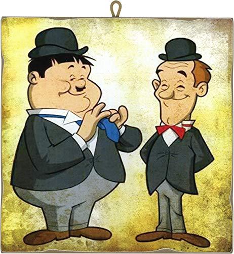 KUSTOM ART Quadro Quadretto Stile Vintage Serie Fumetti Stanlio & Ollio (Stan Laurel & Oliver Hardy) da Collezione Stampa Laser su Legno Alta qualità Made in Italy - Idea Regalo