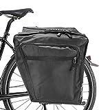 ASANMU Bolsa Trasera para Bicicleta, Alforja Maletero Impermeable Bolsa Bicicleta Multifuncional 2 Compartimentos Bcicleta Pannier mit Cinta Reflectante para Bicicleta de Montaña (Negro)