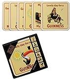 signs-unique Seis posavasos Guinness con respaldo de corcho en caja de almacenamiento (anuncios antiguos) (sg)