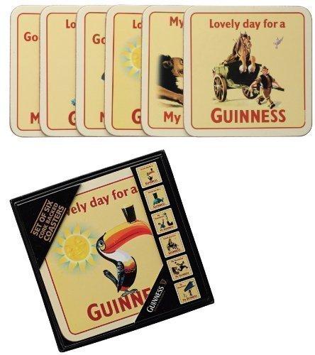 signs-unique Six Guinness Cork Sottobicchieri in scatola di immagazzinaggio (vecchi annunci disegni) (sg)