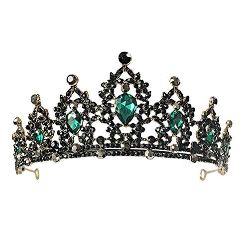 Lurrose Vintage schwarz Tiara und Krone Stirnband Strass Prinzessin Tiara klassische Königin Kronen Hochzeit Kopfschmuck für Mädchen Frau (grün)