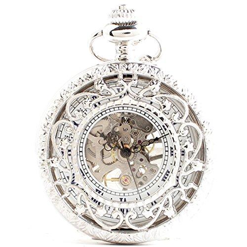 [モノジー] MONOZY 機械式 手巻き 懐中時計 アンティーク 風 蓋つき 両面 スケルトン 革紐 付き ネックレス ペンダント 時計 pwsv-a