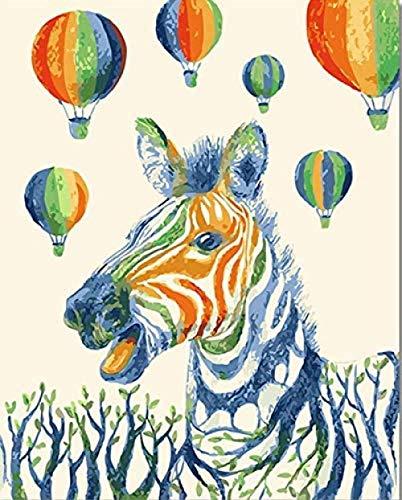 HAO Bunte Zebra-Malerei durch Zahlen DIY Tier Digitalwand Leinwand Bild Luftballon Färbung durch Zahlen Kunstwerk Geschenk 40x50cm Rahmenlos