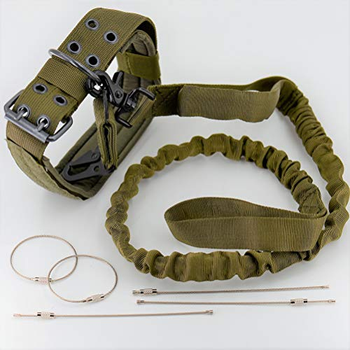 REBEL METTLE Tactical Training Dog Leash [Green] (1) [Quick Release] + Adjustable Collar (1) + All Purpose MOLLE Hook Clip (1) for SWAT/Military / K9 Unit