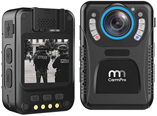 CammPro I826 Pro Cámara desgastada por el cuerpo, 1440P HD Cámara desgastada por el cuerpo de la policía Memoria incorporada de 128 GB 11 horas de grabación ultraligera, para aplicación de la ley