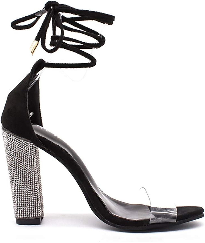 NIST High Heel Sandals Ladies Transparent Cross Straps with Thick Heels