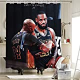 2020 FMVP Lebron James 23 Rd Kobe Cortina de ducha Set de cortina de tela de poliéster antihumedad Los Angeles Lakers Campeonato King Crown Art Sports Player Poster 162 x 72 pulgadas