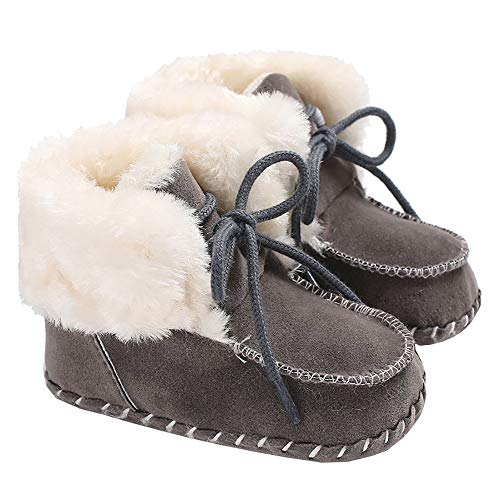 LiveBeauty Baby Boy Girl Winter Snow Boots,Cotton Anti-Skid Sole Bow Warm Infant Toddler Prewalker Booties Crib Shoes for Girls Boys Khaki, 0-6 Months Toddler
