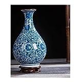 QingT Porcelana, imitación Porcelana clásica Azul y Blanca, jarrón...