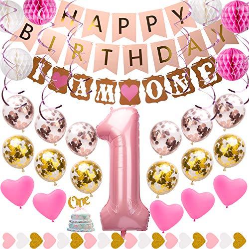 SAVITA 1. Geburtstag Mädchen Dekoration Pink und Gold Party Lieferungen mit Happy Birthday Banner, Folienballons, Papierballons, Konfettiballons, Latexballons und mehr