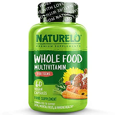 NATURELO Whole Food Multivitamin for Teens - with Natural Vitamin, Mineral & Plant Extracts for Teenage Boys&Girls - Best Supplement for Active Children - No GMOs - 60 Vegan Capsules   2 Month Supply