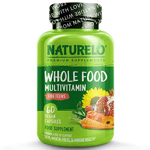 NATURELO Whole Food Multivitamin for Teens - with Natural Vitamin, Mineral & Plant Extracts for Teenage Boys&Girls - Best Supplement for Active Children - No GMOs - 60 Vegan Capsules | 2 Month Supply