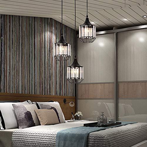DC Wesley Lámpara de araña de cristal moderna minimalista de metal negro para restaurante, cafetería, pasillo de tres luces LED, 12 x 14 cm
