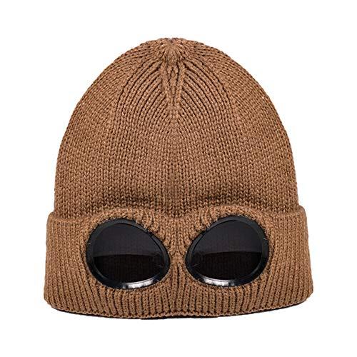 Leoie mannen vrouwen paar mode herfst en winter fleece gebreide warme wol met skibril muts hoed