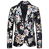 Mens Slim Fit Floral Printed Button Suit Turn-Down Party Club Blazer Jacket Coat Black